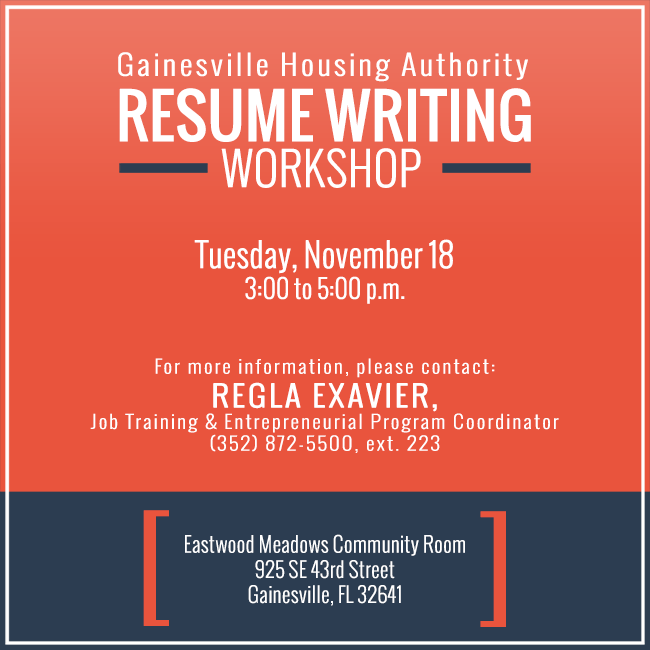 resume writing workshop gainesville housing authority