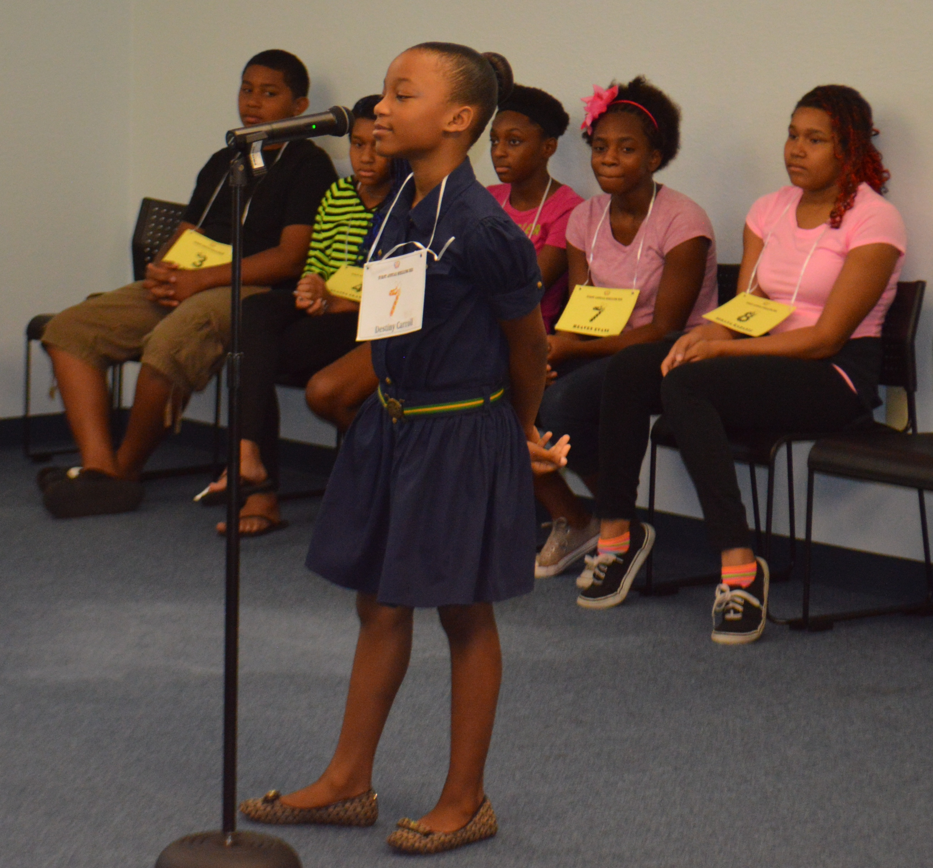 Children participating in the spelling bee